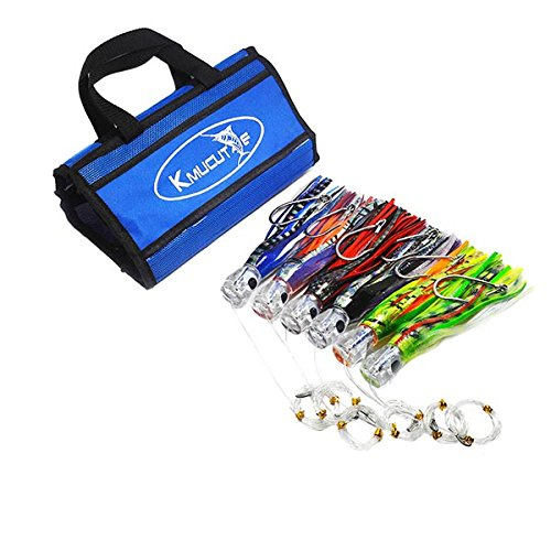 kmucutie SET of 6 Pusher style Marlin/Tuna Mahi Dolphin Durado Wahoo Trolling skirt Lures. Rigged and bag included tuna 9 inch Big game trolling ()