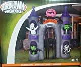 Halloween Inflatable 9 1/2' Monster Castle Archway With Animated Projection Kaleidoscope Pumpkin Head By Gemmy