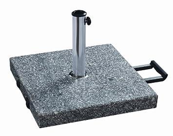 pied de parasol en granit 35kg carre gris