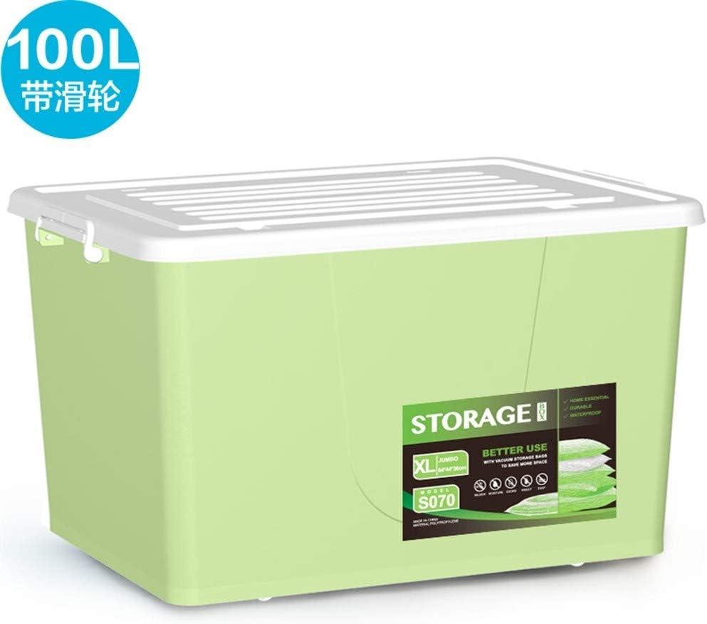 HUIQI Caja almacenaje 100L Extra Grande Gris de plástico Caja de ...