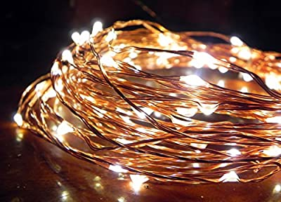 Norsis LED Copper Wire Starry String Lights. Decorative Waterproof Fairy Lights for Indoor/Outdoor, 33ft w/ Wall Plug
