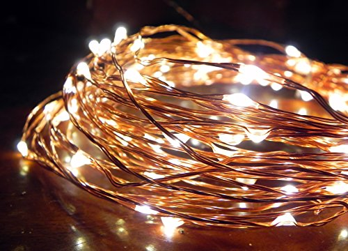 Norsis Fairy Lights - Flexible Copper Wire Starry String Lights - 100 Miniature LED Lights, Extra Long Wire - Warm White Light - Indoor / Outdoor - Interior Decor, Garden, Christmas, Craft and DIY - Vintage Gold Mini