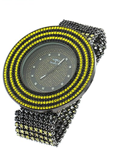 Men's Techno Pave Black & Yellow Japanese Quartz Crystals Casual Fashion Watch XXL