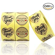 EOOUT Kraft Paper Thank You Stickers Label 1500 pcs 1.4'' Heart Shape & Round Adhesive Labels | 3x500 per Roll