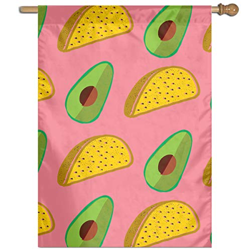 (YUANSHAN Single Print Home Garden Flag Tacos Everywhere with Avocado Polyester Indoor/Outdoor Wall Banners Decorative Flag)