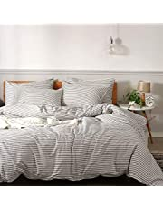 JELLYMONI 100% Natural Cotton 3pcs Striped Duvet Cover Sets,White Duvet Cover with Grey Stripes Pattern Printed Comforter Cover,with Zipper Closure & Corner Ties(Queen Size)