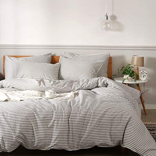 JELLYMONI 100% Natural Cotton 3pcs Striped Duvet Cover Sets,White Duvet Cover with Grey Stripes Pattern Printed Comforter Cover,with Zipper Closure & Corner Ties(King Size) (Striped Set Grey Comforter)