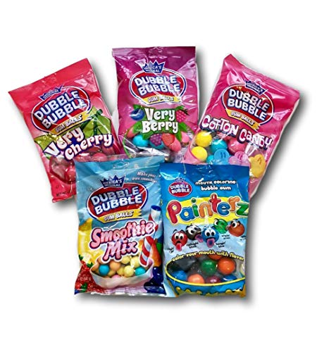 Painterz Bubble Gum - Dubble Bubble Gum, 5 Bags Variety Pack Gumball Refill: Cotton Candy, Very Berry, Painter, Very Cherry, Smoothie Mix