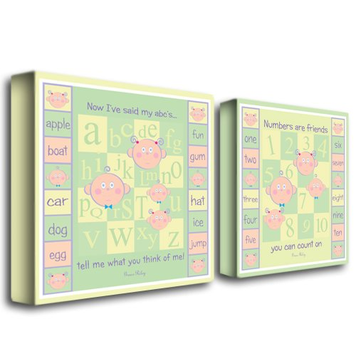 Trademark Fine Art ABCs and 123s by Grace Riley Canvas Wall Art, Two 14x14-Inch
