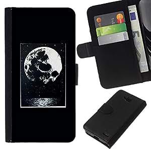 All Phone Most Case / Oferta Especial Cáscara Funda de cuero Monedero Cubierta de proteccion Caso / Wallet Case for LG OPTIMUS L90 // Moon Night Poster Halloween