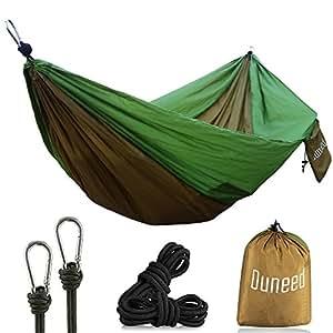 Ouneed Double Camping Hammock, Portable Parachute Nylon Hammock Swing Bed for Backpacking Travel (Khaki & Green)