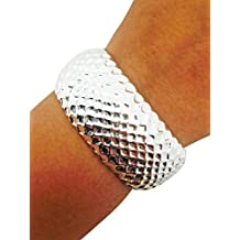 Fitbit Bracelet for Fitbit Flex - The Classy LIBBY Textured Shiny Silver Hinge Bangle Fitbit Bracelet