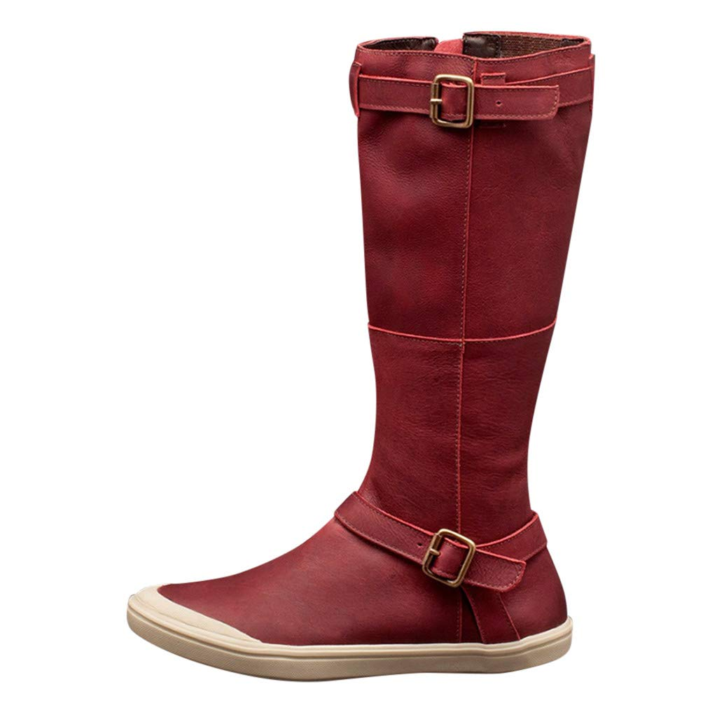 Kauneus Womens Retro Knight Boots Round Toe Flat Comfy Side Zipper High Tube Boots Classic Buckle Strap Mid Calf Boots Red by Kauneus Fashion Shoes