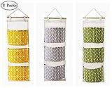 Blansdi Hanging Storage Bag Wall Mounted 3 Pockets Over Door Hanging Closet Organizer, Linen Cotton Fabric Waterproof Storage Bag for Bedroom & Bathroom Green (3 Packs)