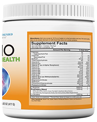 Cardio Heart Health L Arginine Powder Supplement 5000mg plus 1000mg L Citrulline with Minerals, and Antioxidants Vitamin C & E Total Cardiovascular System Health Formulated by REAL DOCTORS