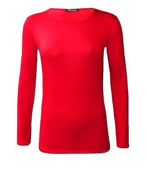 74843af5f5e9 Générique Neuf Femmes Ras de Cou Simple uni Manches Longues T-Shirt Haut 15  Couleurs Grande Taille UK 8-24  Amazon.fr  Vêtements et accessoires