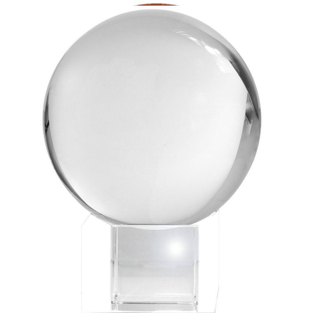 Amlong Crystal CO10080G Meditation Ball Globe with Free Crystal Stand, 80mm, Clear