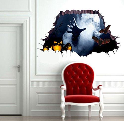 Gloous 3D Happy Halloween Household Room Floor Wall Sticker Mural Decor Decal Removable (100 Floors Halloween 34)
