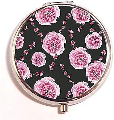 Rose y Brunch Personalizado Redondo de Plata Portátil Píldora de Viaje Caja Organizador Caja 3 Compartimento Medicina Tableta Soporte Caja Caja Regalo: Amazon.es: Salud y cuidado personal