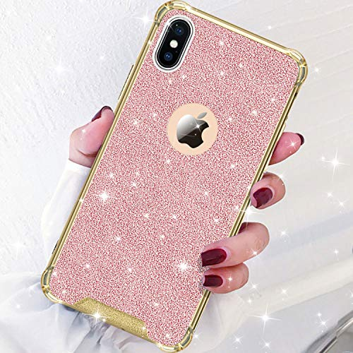 Plastic Bling Case Hard (DAUPIN for iPhone Xs Max Phone Case Protective Defender Thin Slim Clear Bling Glitter Shockproof Cases Hard Back Plastic Gold Edge Cover for Women Girls for iPhone Xs Max 6.5 inch (Gold-Rose Gold))