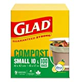 Glad 100% Compostable Bags - Small 10 Litres - Lemon Scent, 100 Trash Bags
