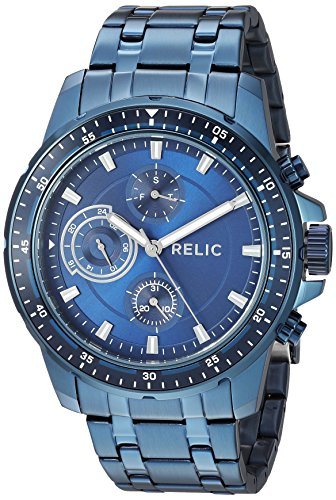 - Relic by Fossil Men's Heath Quartz Stainless Steel Sport Watch, Color: Blue (Model: ZR15937)
