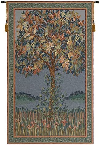 Charlotte Home Furnishing Inc. Belgian Tapestry Wall Hanging, 32 in. x 51 in, Life of Tree Flanders – William Morris Tapestries