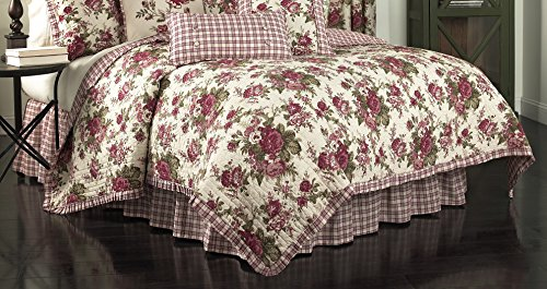 Waverly Floral Quilt - Waverly 14770BEDDTWNTSN Norfolk 86-Inch by 68-Inch Reversible 4 Piece Twin Quilt Collection, Tea Stain