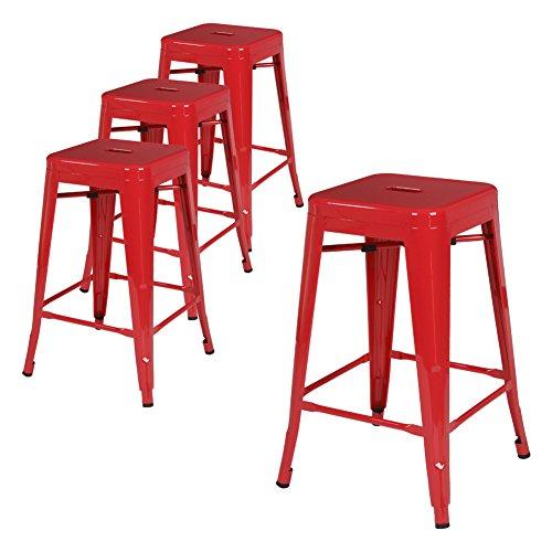 '' Metal Bar Stool Tolix Style Modern Industrial Backless Bar Stools Indoor-Outdoor Bar Stools (red) (24' Backless Metal)