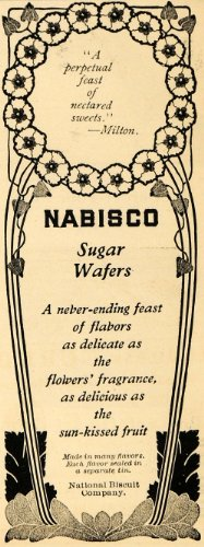 1902 Ad National Biscuits Nabisco Wafers Floral Milton - Original Print - Floral Biscuit