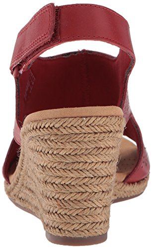 CLARKS Womens Lafley Rosen Platform, Red Leather, 6 Medium US