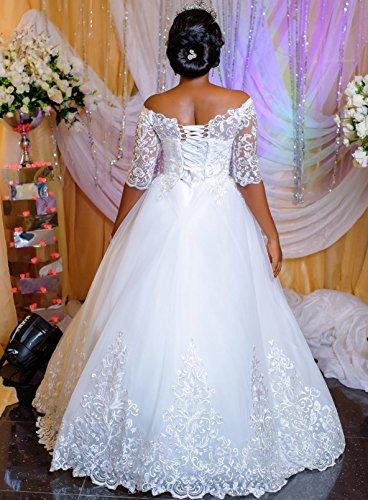 Drehouse Femmes Tulle Au Large De L'épaule Robes De Mariée Une Ligne Robes De Mariée Avec Demi Manches Ivoire