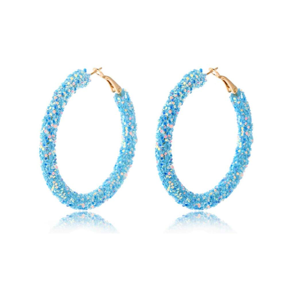 Zodiark Jewellery London Sparkling Bright Blue Iridescent Sequin Encrusted Hoop Earrings with Gold Detail