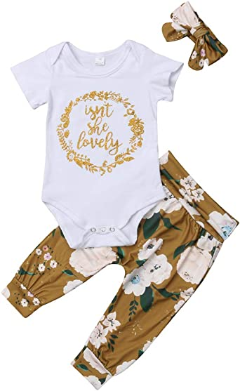Newborn Infant Baby Girl Outfits Isnt She Lovely Romper Top Floral Pant Headband 3Pcs Short Set 0-3 Months, Gold