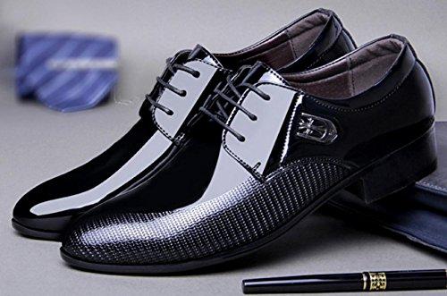 Para Black Vestir Xie De Zapatos Coreano Brillante 40 Encaje Hombres Cara Boda 41 xq1Sqw