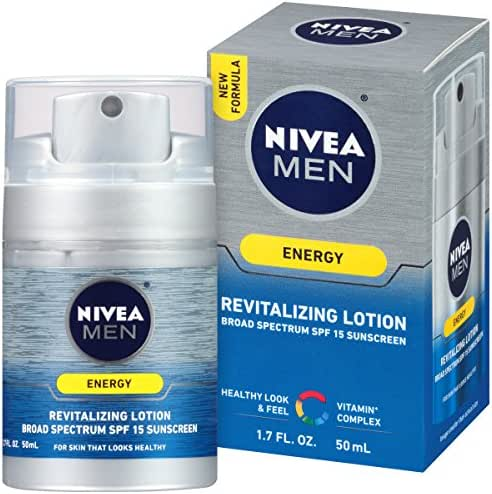 NIVEA Men Energy Lotion Broad Spectrum SPF 15 Sunscreen 1.7 Fluid Ounce