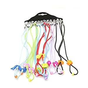 Flyusa 12pcs Colorful Cord Elastic Adjustable Safety Eyeglass Rope Chains Holder Eyewear Cord Neck Strap for Kids Boys Girls