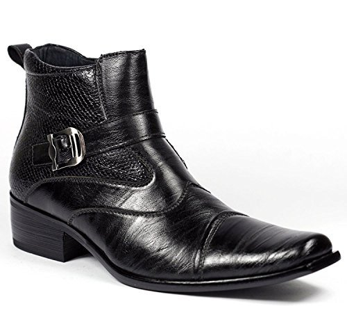 Image of Delli Aldo Men's Buckle Strap Ankle High Dress Boots Shoes