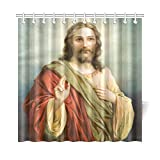 Catholic Christian Religious Church Gifts Jesus Christ The Son Of God Waterproof Bathroom decor Fabric Shower Curtain Polyester 72 x 72 inches