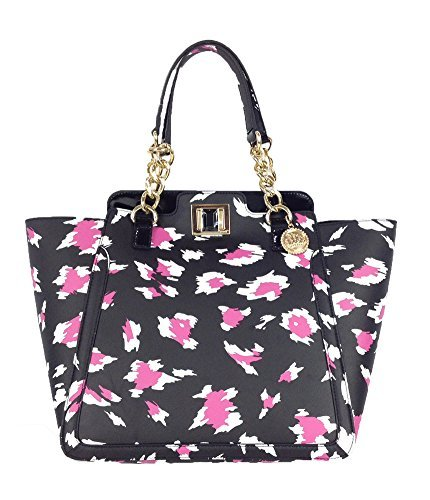 Juicy Couture Wild Thing Leather Large Wing Tote Bag, Black Fuchsia Leopard