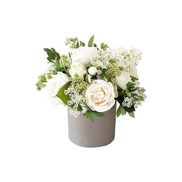 MEDA BLOOMS Mixed Silk Peony, Hydrangea and Greenery Flowers Arrangement in Grey Ceramic Vase, Home Office Wedding Table Centerpiece Decorations