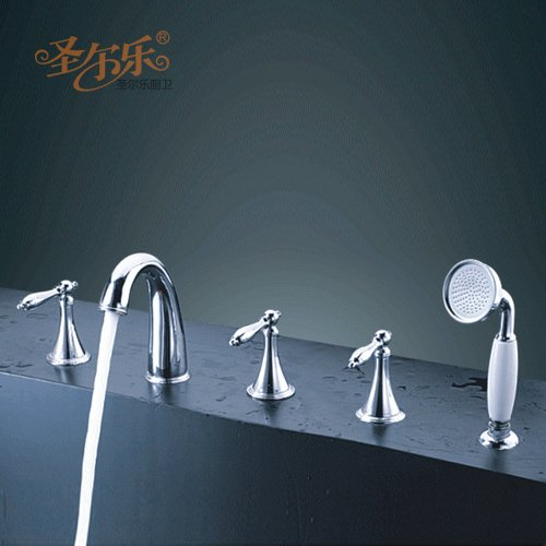 Trumpet type five piece copper bathtub faucet, split type five piece set loudspeaker, quick opening bathtub, faucet, shower