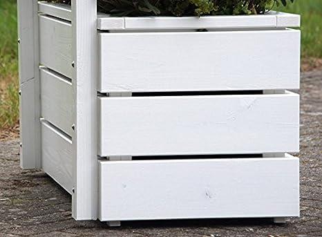 Pflanzkübel Holz mit Sichtschutz, Deckend Geölt Weiß: Amazon.de: Garten