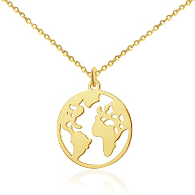 87f67303d3173 GOOD.designs ® Globe necklace for Ladies In Silver, Gold or Rose gold,  World Pendant, Chain Length 18 in (45 cm)