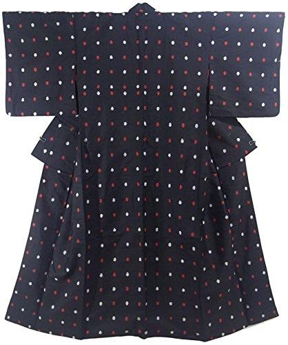 実行アイロニーメイドアンティーク 着物 銘仙 紅白の水玉模様 黒地 裄61cm 身丈147cm