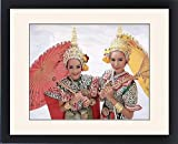 Framed Print of Portrait of two dancers in traditional Thai classical dance costume