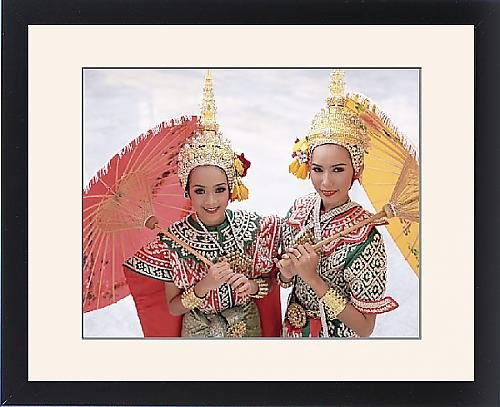 Framed Print of Portrait of two dancers in traditional Thai classical dance costume by Robert Harding