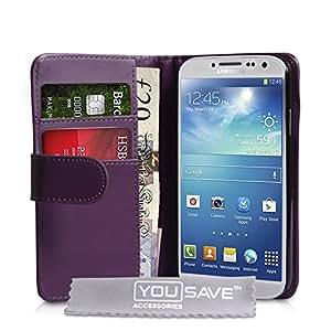 Fundas Samsung Galaxy S4 Carcasas Púrpura PU Cuero Cartera Caso