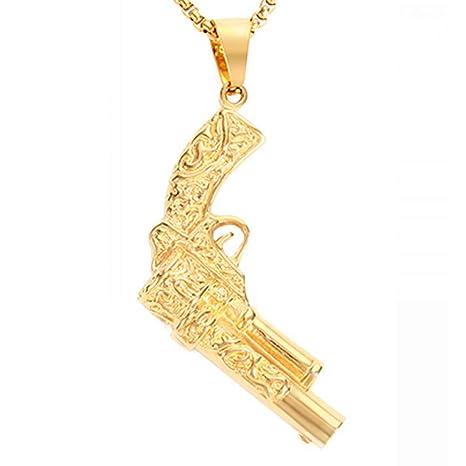 Burenqi Gold Machine Gun Charms Tatuaje Big Gun Colgante Collar ...
