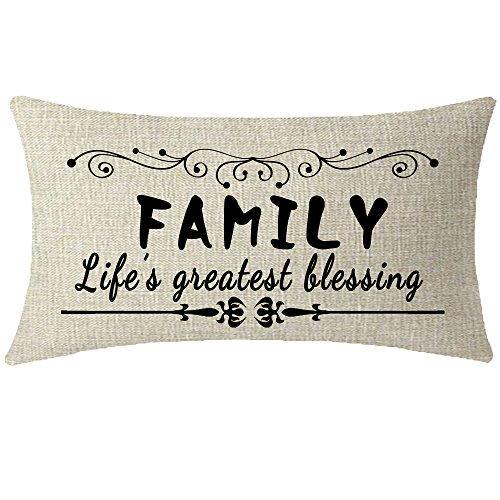 Nice Gift Sweet Love Family Quote Words Family Lifes Greatest Blessing Waist Lumbar Beige Cotton Linen Throw pillow case Cushion cover for Sofa home decorative Oblong 12x20 (Oblong Decorative Pillow)